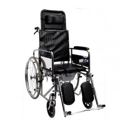 Scaun cu rotile cu WC, spatar si suporti picioare cu inclinare reglabila RX208