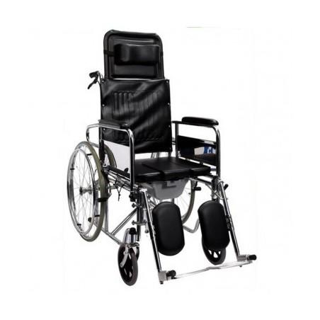 Scaun cu rotile cu WC, spatar si suporti picioare cu inclinare reglabila...