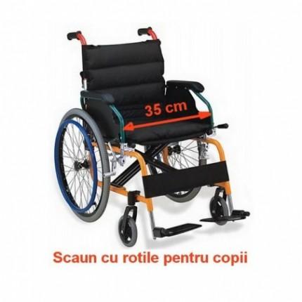 Scaun cu rotile pediatric pliabil cu structura din aluminiu latime 35 cm