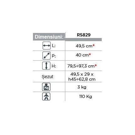 Scaun de baie dreptunghiular inaltime reglabila RS829