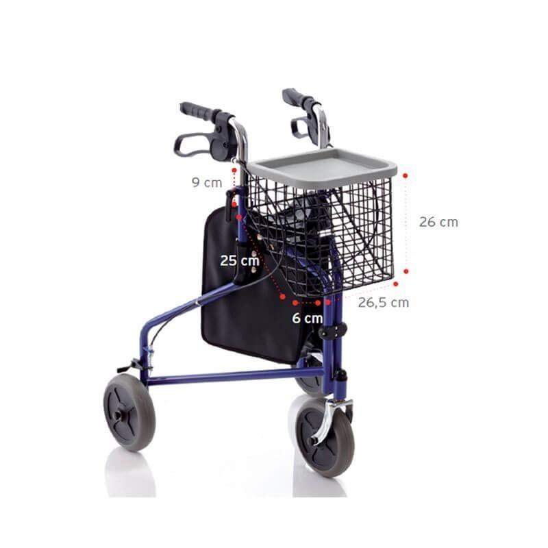 Rolator cu 3 roti si cos de cumparaturi RP485 Moretti