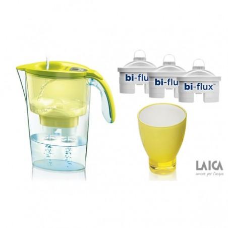 Pachet cana filtranta Laica + 3 cartuse filtrante Bi-Flux + pahar...