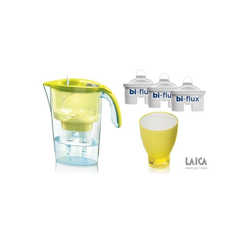 Pachet cana filtranta Laica + 3 cartuse filtrante Bi-Flux + pahar colorat de colectie CADOU