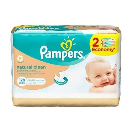 PAMPERS servetele Natural Clean 2x64 buc